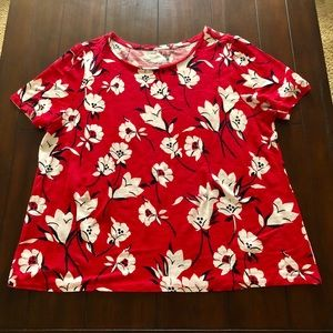 Loft red linen top with floral design